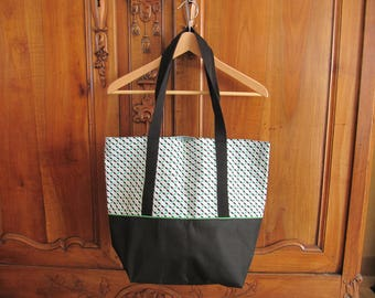 Black and cotton canvas tote bag Green and white