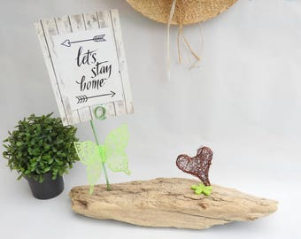 Picture Driftwood - deco Green Butterfly - deco greenery - decor-Valentine's day gift idea