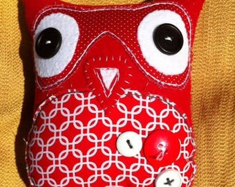 medium red fabric and felt plush owl