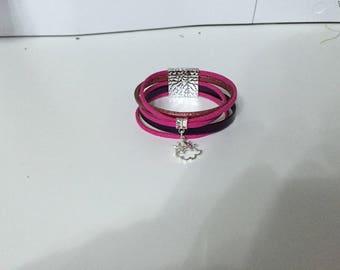Woman with charm Cuff Bracelet