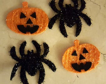 2 pumpkins and 2 spiders Halloween fabric
