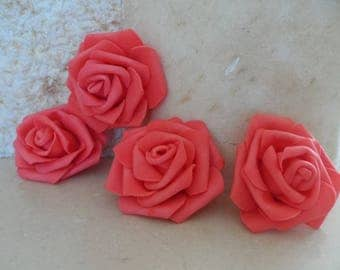 set of 4 coral flowers 6.5 cm appliques for sewing or craft