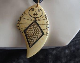 Scorpion motif hand painted porcelain pendant