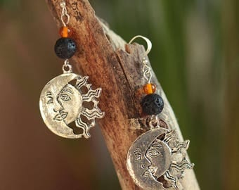 Earrings Sun and Moon in silver, lava beads, orange glass
