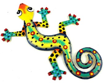 """Yellow, Green and Blue Spotted Metal Gecko-8"""""""