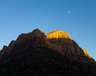 Sunset and moon over Zion National Park Utah Desert Nature Photo Print Blue Sky Wilderness 5x7 4x6