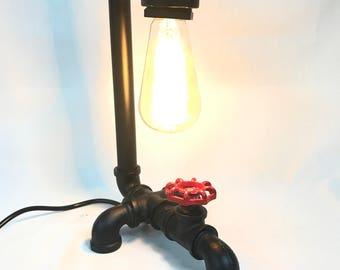 Metal Pipe Tap droplet Steampunk table desk lamp