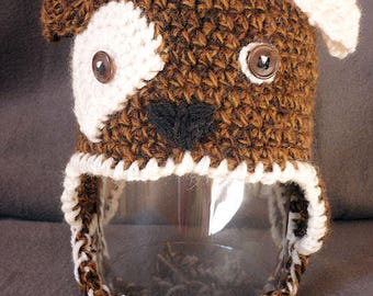 Baby: crocheted Hat small dog, lined fleece, 3/6 months