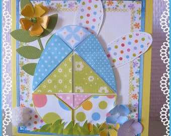 Funny Easter card: Bunny and egg tangram way