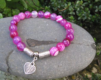 Pink agate beads and heart bracelet