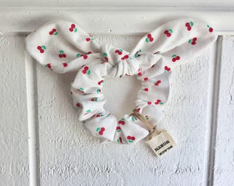 Cherry Print Floppy Knot Tie on Scrunchie