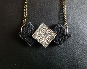 """""""Trio of square"""" leather necklace adjustable shiny"""