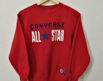 RARE!! Vintage Converse All Star Chuck Taylor Big Spellout Embroidery Big Logo Sweatshirt Jumper Pullover
