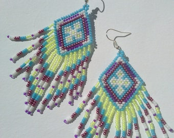 glass beads dangling weaving brick stitch earrings