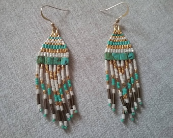 Gold plated and turquoise beads earrings