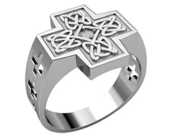 Celtic Cross Ornament Men Ring Sterling Solid Silver 925 SKU30214
