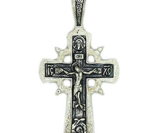 Men's Pendant Cross Slavic style Sterling Silver 925 SKU0107