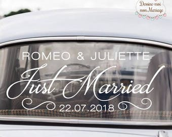 """Car wedding stickers personalized """"Just married"""" - for a custom car decoration"""