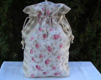 Bag pouch romantic clutch in cotton ticking and antique roses for everything you need