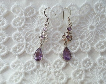 Silver and Amethyst heart earrings