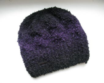 Women's Knit Winter Hat Warm Beanie Knitted Hat Knit Accessories Black Hat Purple Hat Trendy Hat Ledies Beanie Bun Hat Knitwear Handmade