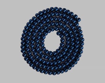 Strand of 100 beads round glass Pearl 8mm Royal Blue