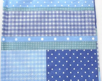 20 NAPKINS paper PATCHWORK of GINGHAM and polka dot blue REF. 3413