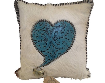 Hair on Hide Heart Pillow Exclusively by Partners Western Company