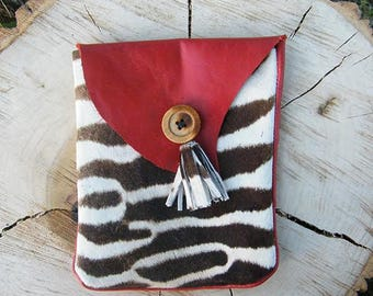 Red Leather Pouch with Zebra Print