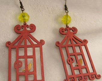 "Earrings ""Open cage birds"" creat ' Y. O.N"