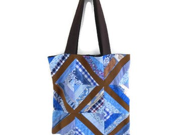 Bag, tote bag, patchwork blue and Brown
