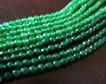 x 20 pearls gemstone [4mm] green jade or beryl faceted semi-precious (aquamarine)