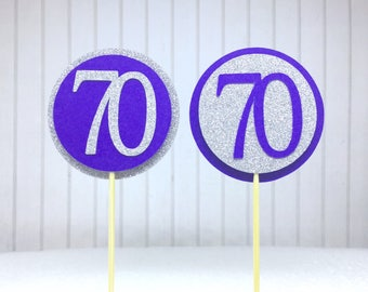 "70th Birthday Cupcake Toppers - Silver Glitter & Violet Purple ""70"" - Set of 12 - Elegant Cake Cupcake Age Topper Picks Party Decorations"