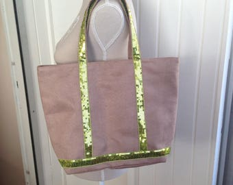 beige suede and glitter tote bag
