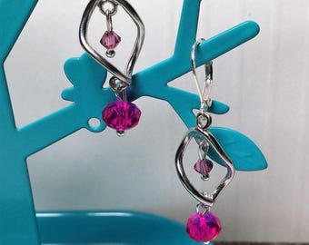 Earrings small Crystal fuchsia spiral