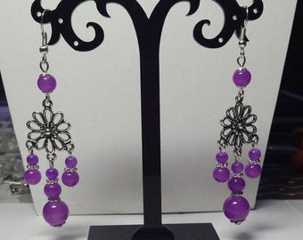 Flower Earrings and purple Pearl drop
