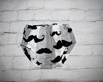 Mustache Print Diaper Cover