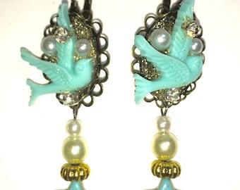 Vintage blue swallow earrings