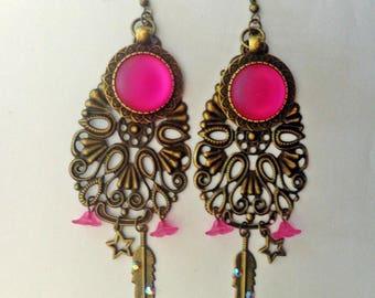 """Earrings bronze engraving """"pink shade"""""""