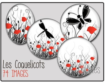 Poppies Printable Images Digital Collage Sheet for Jewelry Making - Poppies Digital collage sheets