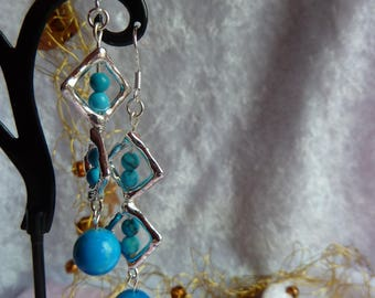 Genuine TURQUOISE gemstones earrings