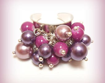 "Ring charms pearls ""Purple Pearl."""