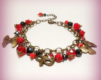 "Charm bracelet beads ""passionately red and black!"""