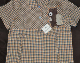 DESTASH - Shirt 6-7 years - blue/orange Plaid short sleeve