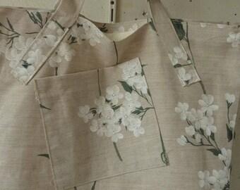 tote bag large molded green flower pattern beige linen cotton