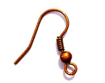 50 x hook Earrings - copper - ear hooks