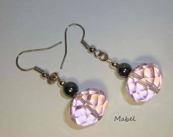Pink Crystal and hematite gray wedding earrings