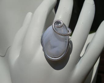 White ring, embossed aluminum silver wire, adjustable, wedding