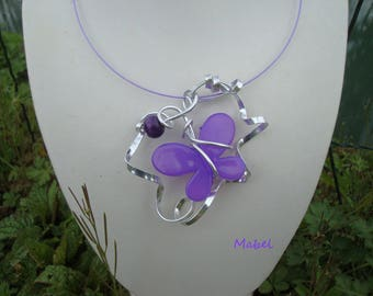 Purple Butterfly Necklace wedding, cocktail, evening, unique