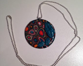 """Necklace """"disk"""" fimo cane pattern"""